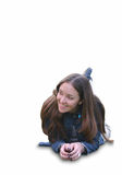 Casual girl smiling on the floor Stock Images