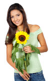 Casual girl with a sunflower Stock Images