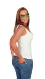 Casual girl with sunglasses Royalty Free Stock Photos
