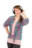 Casual girl wearing headphones Stock Photography