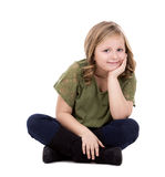 Casual girl on white background Royalty Free Stock Images