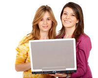 Casual girls on a laptop Stock Photos