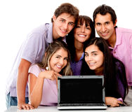 Casual group with laptop Royalty Free Stock Photos