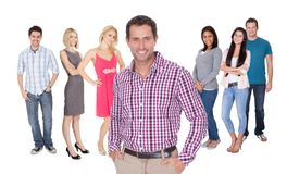 Casual group of people standing over white Royalty Free Stock Images