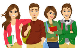 Casual group of students looking happy and smiling Stock Photography