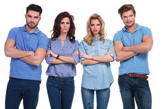 Casual group of young serious people Stock Images