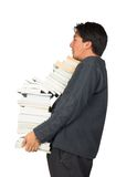 Casual guy carrying books Royalty Free Stock Photo