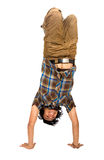 Casual guy doing a handstand Stock Photo