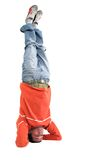 Casual guy doing the headstand Stock Photos