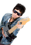 Casual guy with an electric guitar Royalty Free Stock Photo