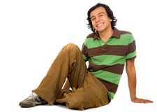 Casual guy on the floor Royalty Free Stock Images