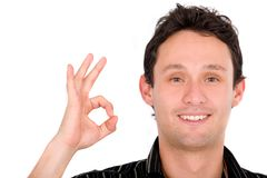 Casual guy giving the ok sign Stock Photo