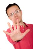 Casual guy hand - stop Royalty Free Stock Image