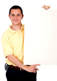 Casual guy holding banner add Stock Photography