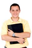 Casual guy holding a folder Royalty Free Stock Images