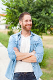 Casual guy relaxed in a park Royalty Free Stock Photo
