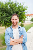 Casual guy relaxed in a park Stock Photos