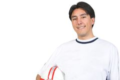 Casual guy with soccer ball Royalty Free Stock Image