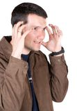 Casual guy very stressed Royalty Free Stock Image