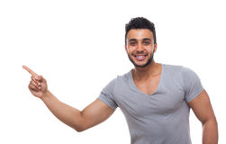 Casual Handsome Man Point Finger At Corner To Copy Space Stock Photos