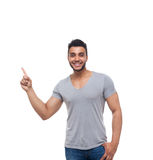 Casual Handsome Man Point Finger At Corner To Copy Space Stock Image
