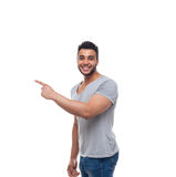 Casual Handsome Man Point Finger Side To Copy Space Stock Photography