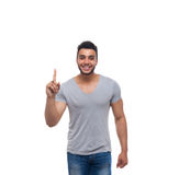 Casual Handsome Man Point Finger Up To Copy Space Happy Smile Stock Photos
