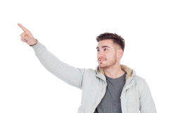 Casual handsome men pointing something Stock Photography