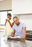 Casual happy couple having breakfast Royalty Free Stock Images