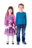 Casual happy little boy and girl Royalty Free Stock Photo