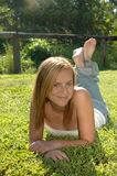 Casual happy teen girl Stock Images