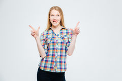 Casual happy thoughtful woman Stock Photography