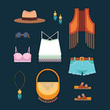 Casual hippie style set of women clothes on dark background. Flat vector illustration. Hippie style women clothes illustration Royalty Free Stock Photography
