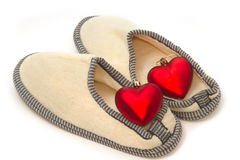 Casual home slippers with red heart Royalty Free Stock Image