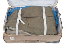 Casual jacket packed in suitcase Royalty Free Stock Photos