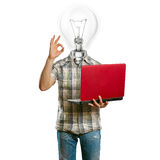 Casual lamp-head with laptop shows OK Royalty Free Stock Photo