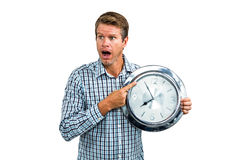 Casual late man showing a clock Stock Images