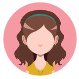 Casual long haired girl. Flat avatar Royalty Free Stock Image