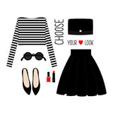 Casual look with cropped singlet, skirt, black shoes and accessories. Stock Images