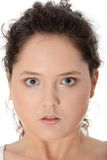 Casual mad young corpulent woman Stock Photos