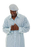 Casual Male Fashion Model 4. Casual male fashion model wearing striped shirt and checkered hat stock image