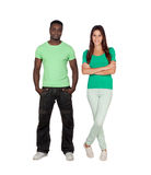 Casual male guy and pretty young woman Royalty Free Stock Photo