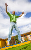 Casual man in the air Stock Photography