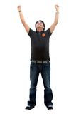 Casual man with arms up Royalty Free Stock Photo