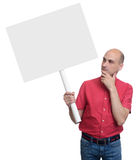 Casual man with a banner Stock Image
