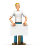 Casual man  is behind blank board Royalty Free Stock Photography