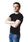 Casual man in black t-shirt Stock Photos