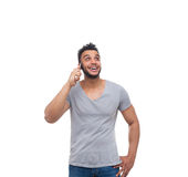 Casual Man Cell Smart Phone Call Look Up Stock Images