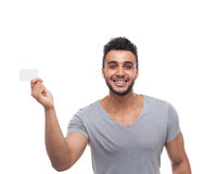 Casual Man Displaying Blank Board Happy Smile Stock Images