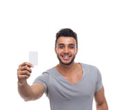 Casual Man Displaying Blank Board Happy Smile Stock Photography